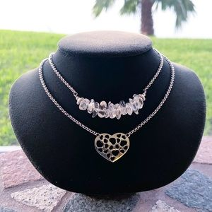 Layer crystal quartz valentine heart boho necklace
